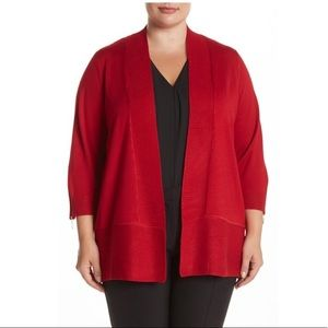 Carmen Marc Valvo Sweaters - Red Ribbed Open Front Cardigan NWT 3X